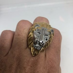 Vintage Lion Golden Stainless Steel Ring